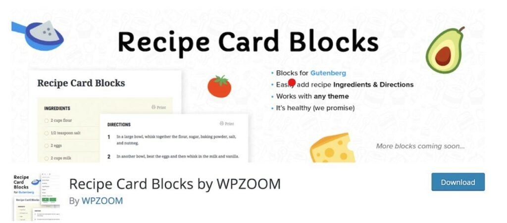 8 – إضافة Recipe Card Blocks إضافات لمدونات الطبخ
