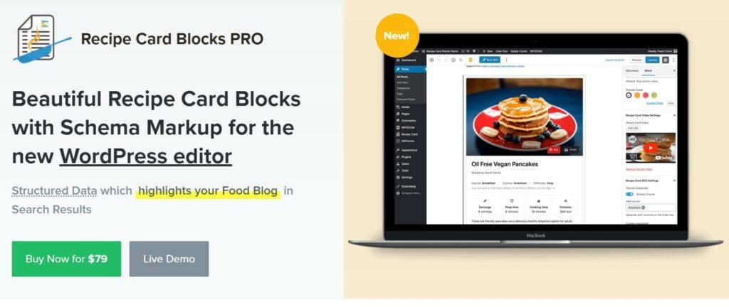 8 – إضافة Recipe Card Blocks 2 إضافات لمدونات الطبخ