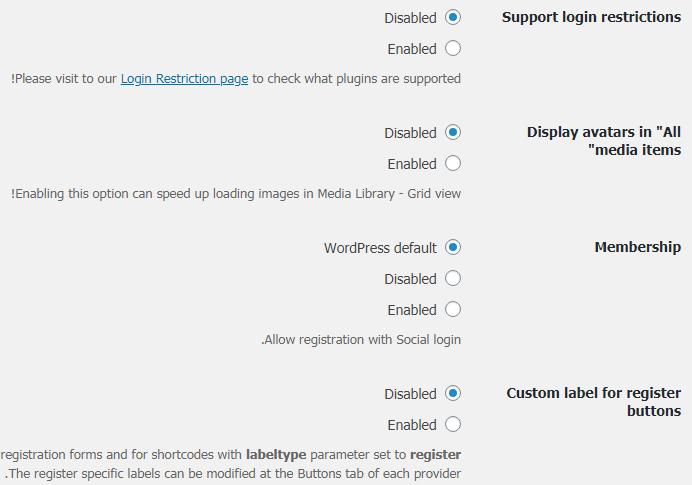 الإعدادات العامة Global Settings لإضافة Nextend social login 3