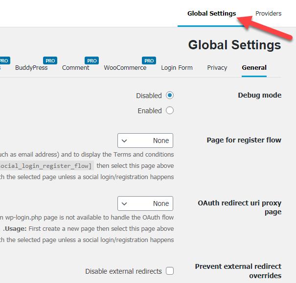الإعدادات العامة Global Settings لإضافة Nextend social login