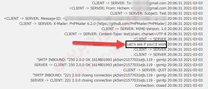 شكل الرسالة داخل تطبيق Gmail SMTP