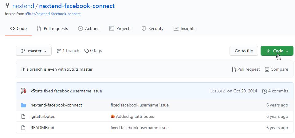 صورة إضافة Nextend social login على موقع Github