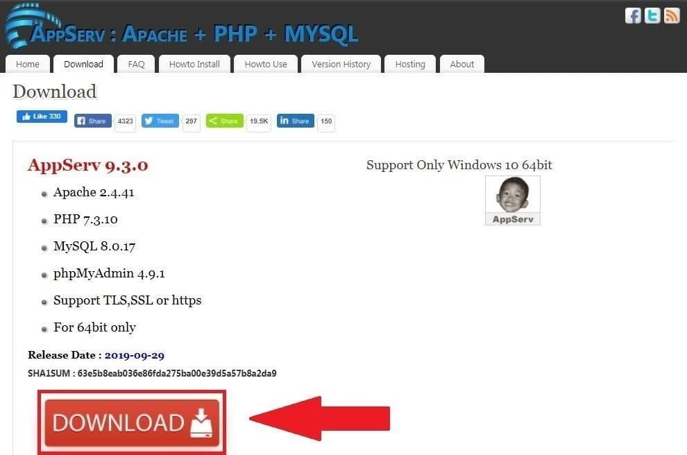 وتنزيل ملف التنصيب الخاص به برنامج AppServ