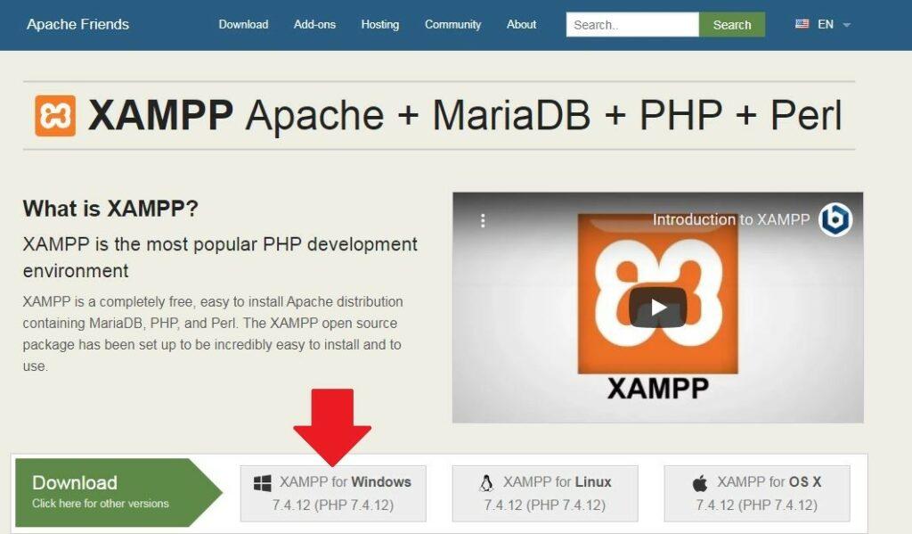 1 لتحميل النسخة الخاصة بنظام التشغيل المثبت على جهازك برنامج XAMPP