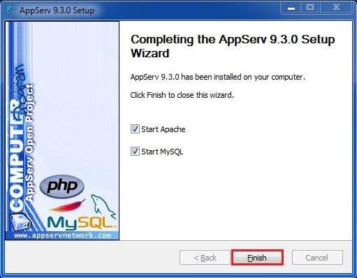 11 واجهة اكتمال التنصيب برنامج AppServ