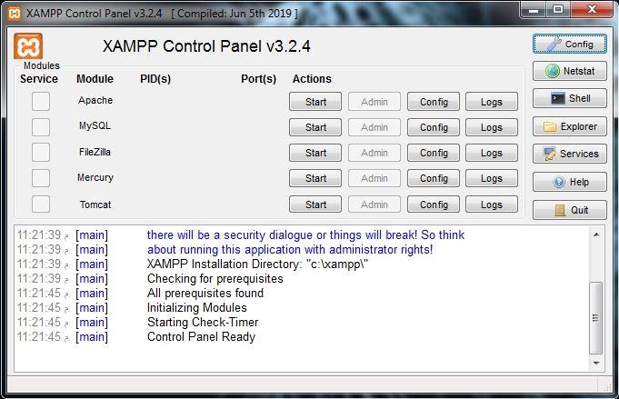 14 الواجهة الرئيسية الخاصة بالبرامج برنامج XAMPP