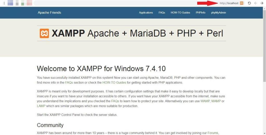 17 فتح المتصفح برنامج XAMPP
