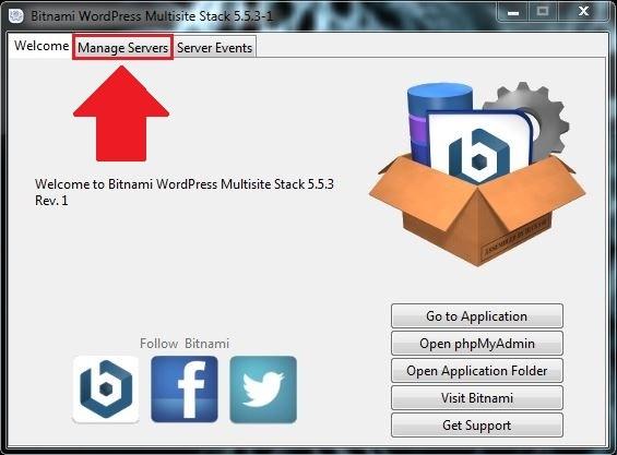 19 نضغط على Manage Servers برنامج BITNAMI WORDPRESS MULTISITE