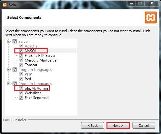 6 تحديد الخدمات ولغات البرمجة المراد تنصيبها برنامج XAMPP