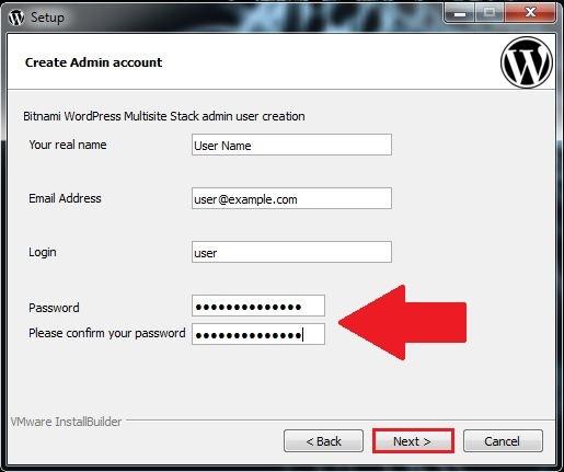 8 اسم المستخدم وكلمة المرور برنامج BITNAMI WORDPRESS MULTISITE