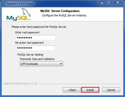 9 كلمة السر الخاصة بالمستخدم المسؤول برنامج AppServ