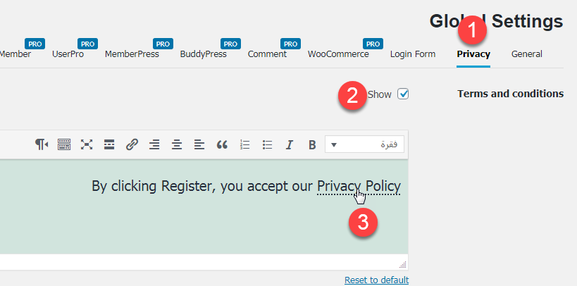 nextend social login - privacy - show terms and conditions