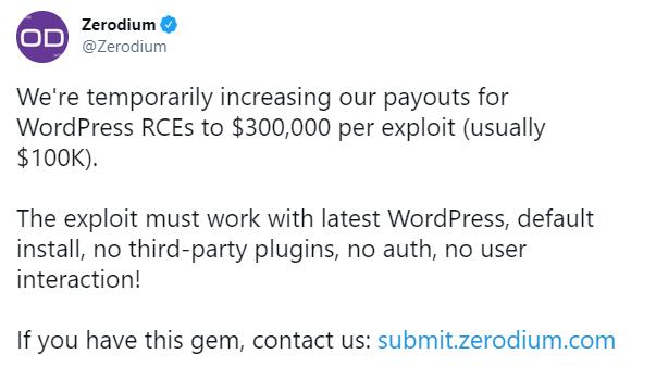 تغريدة شركة Zerodium