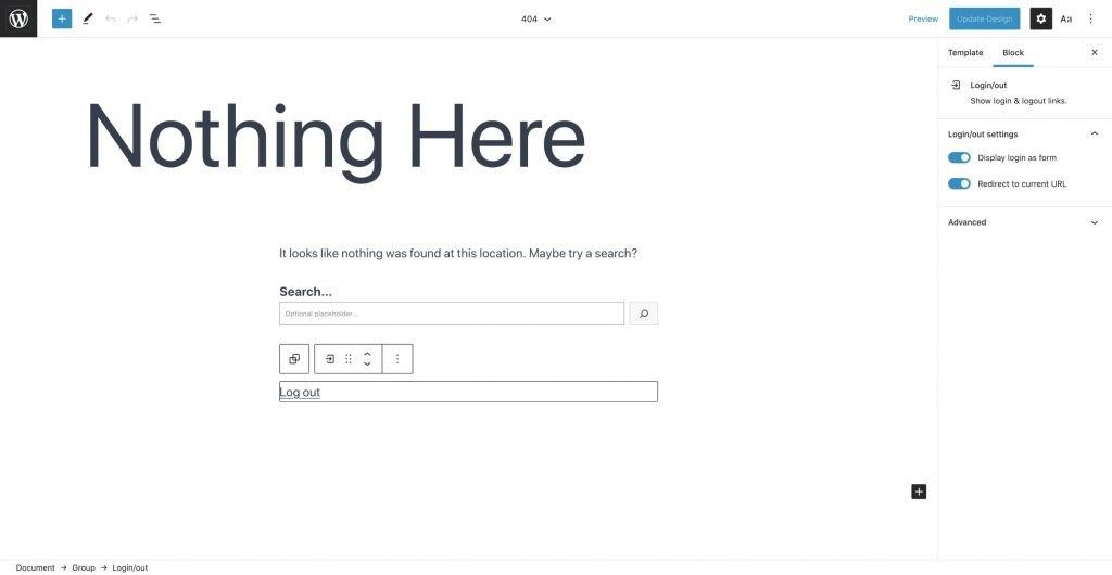 مكون تسجيل الدخول وتسجيل حساب لمحرر جوتنبرج