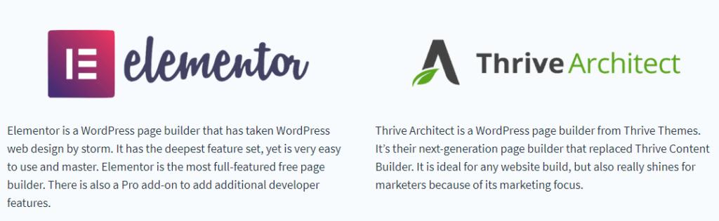thrive architect vs elementor