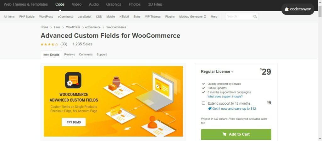 13 3 – Advanced Custom Fields for WooCommerce