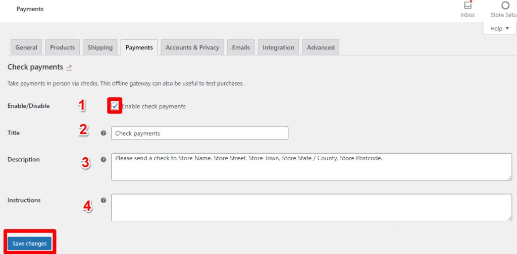 الدفع عن طريق صك بنكي Check Payments 1