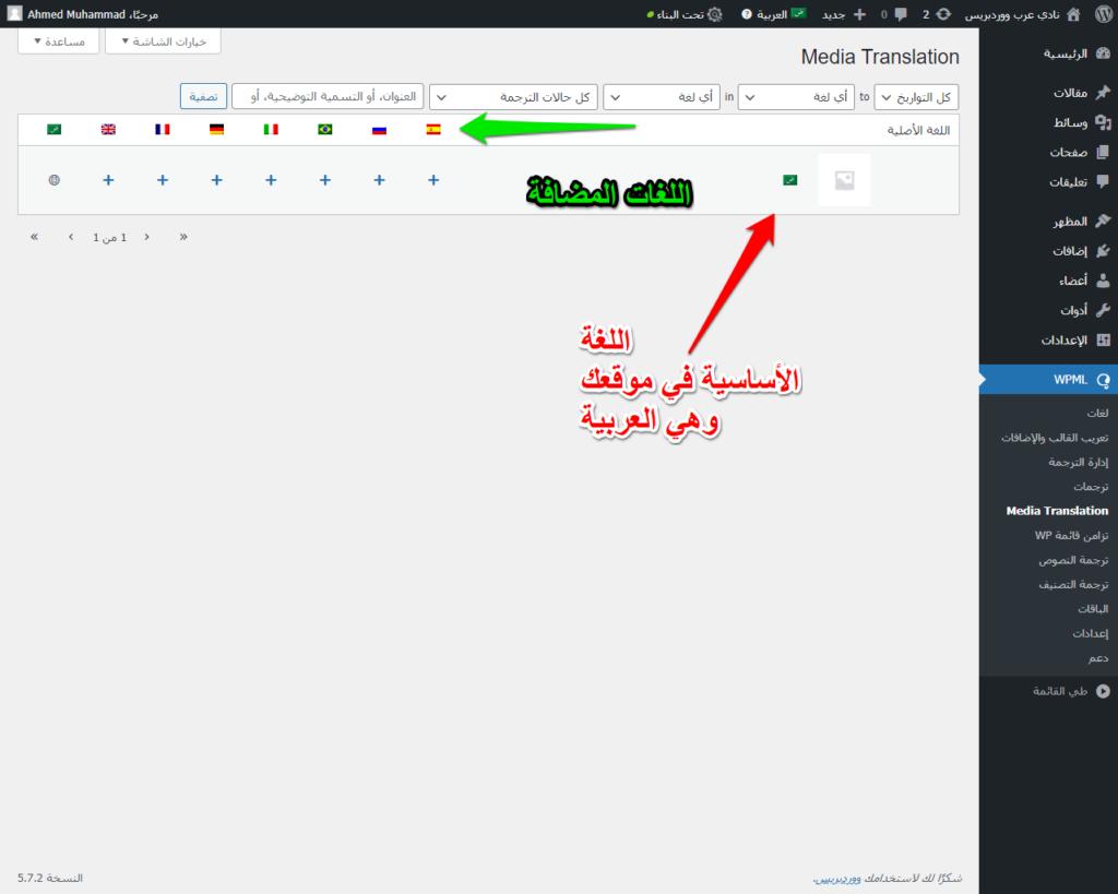اللغات المضافة لموقعك على الووردبريس من WPML