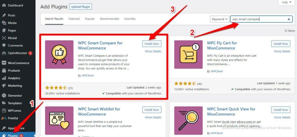 تنصيب إضافة - WPC Smart Compare
