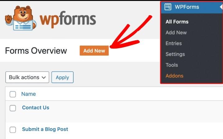 إضافة نموذج باستخدام wpforms