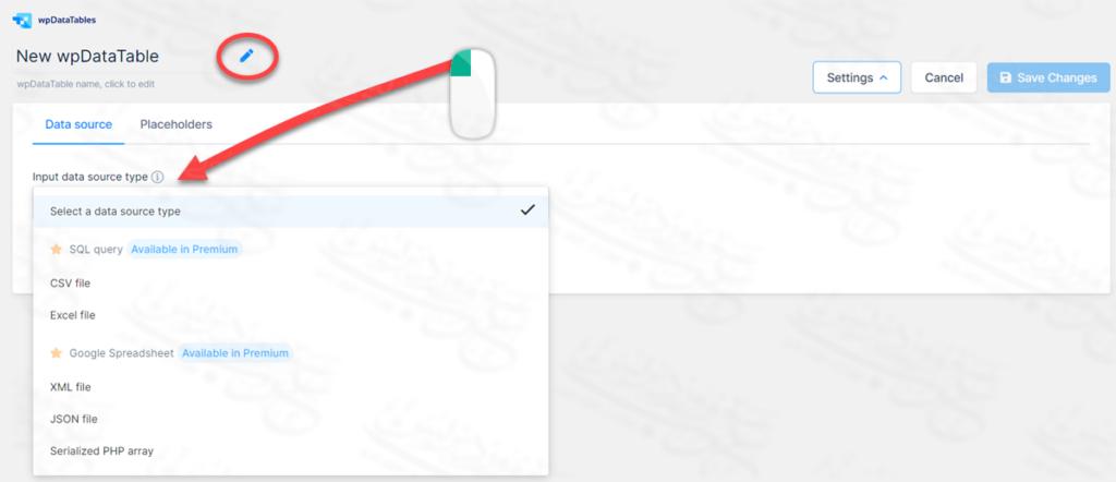اختيار نوع الملف الذي تريد استيراده لجدول wpDataTable