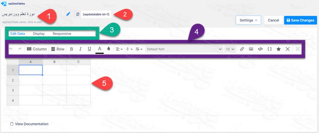 تحرير جدول دورة تعلم الووردبريس