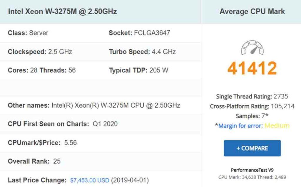 معالج Intel Xeon W-3275M @ 2.50GHz