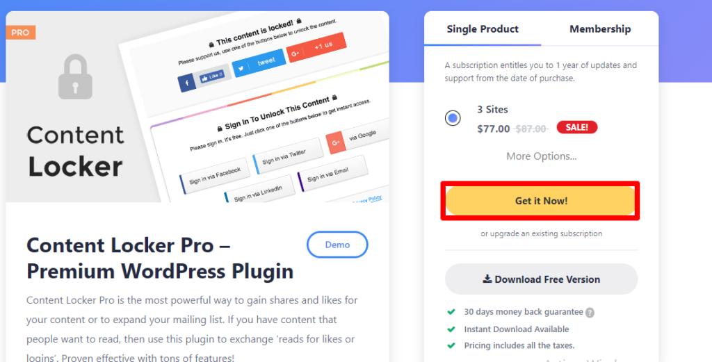 إضافة Content Locker Pro