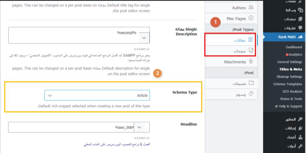 السكيما الافتراضية للمقالات والصفحات