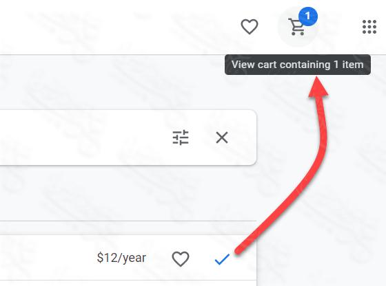 تم إضافة الدومين إلى سلة الشراء في google domian