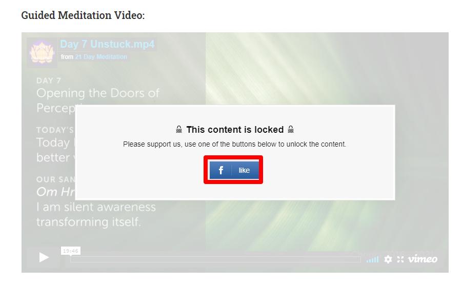 صورة الفيديو المقفول باستخدام إضافة social locker