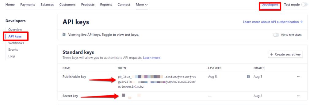 لموقع سترايب المفتاح الحقيقي (API Key)
