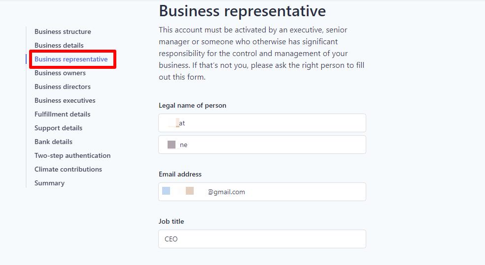 3 – الممثل القانوني لهذا البزنس Business representative
