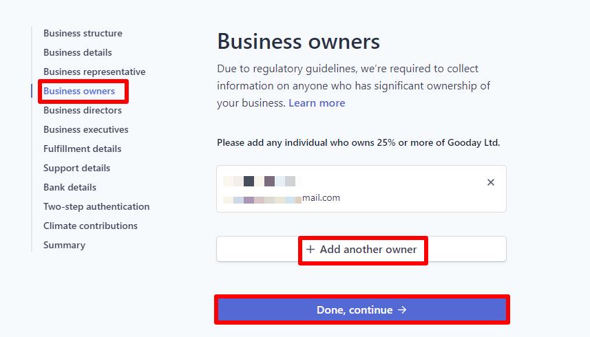 4 – بيانات مالكي البزنس Business owners
