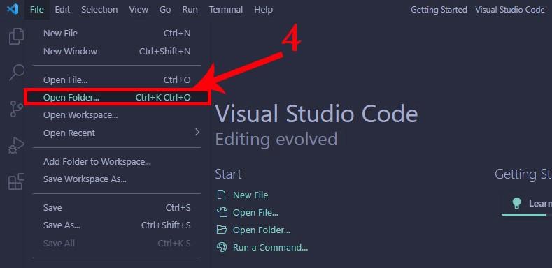 visual stdio code - open folder