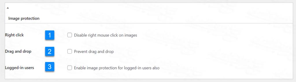 إعدادات حماية الصورة