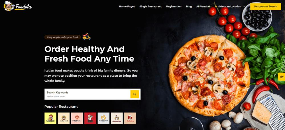 قالب Foodota للمطاعم والمحال التجارية